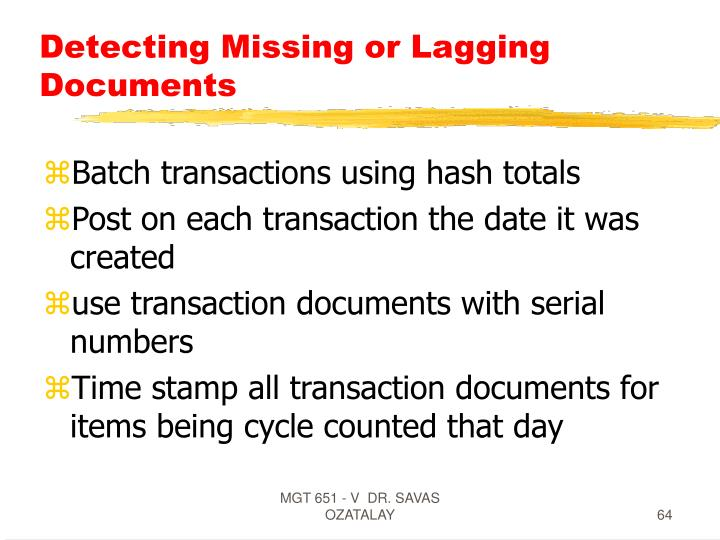 Detecting Missing or Lagging Documents