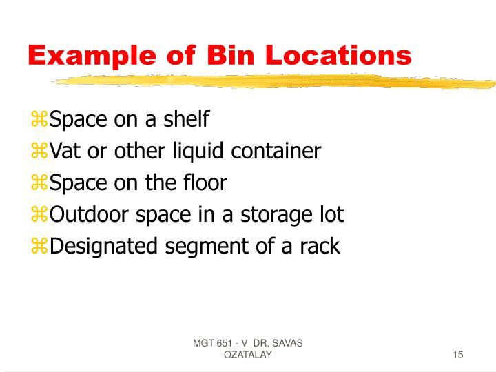 Example of Bin Locations