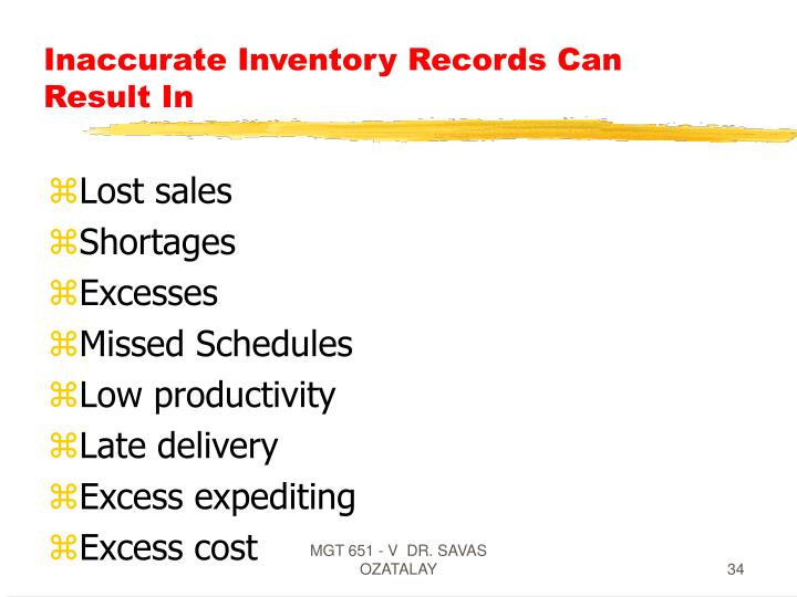 Inaccurate Inventory Records Can Result In