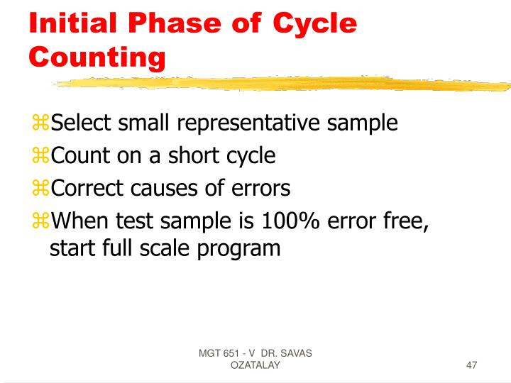 Initial Phase of Cycle Counting