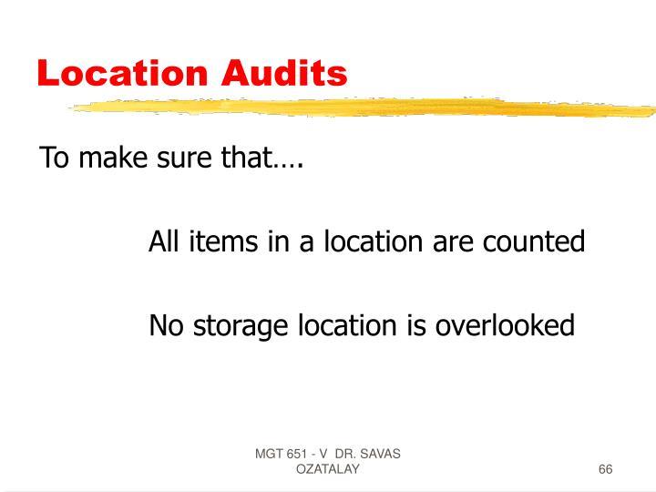 Location Audits
