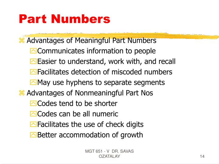 Part Numbers