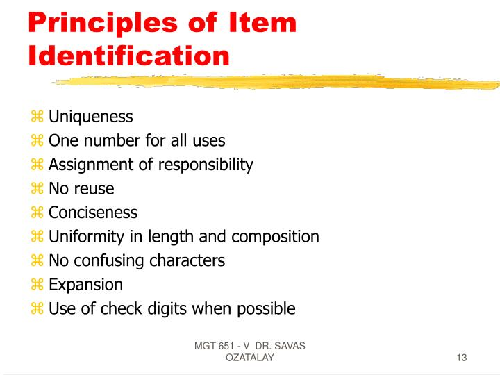 Principles of Item Identification