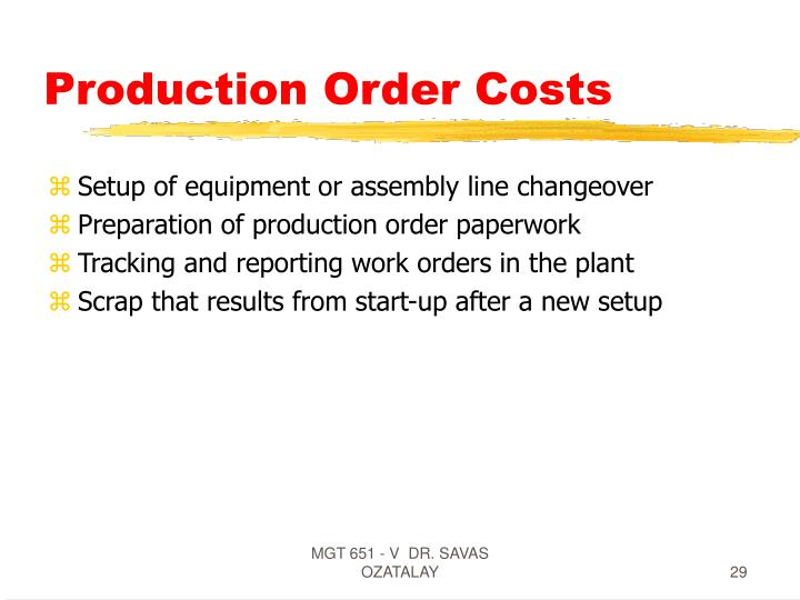 Production Order Costs