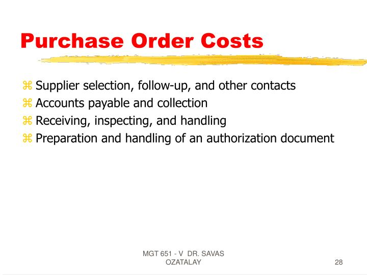 Purchase Order Costs