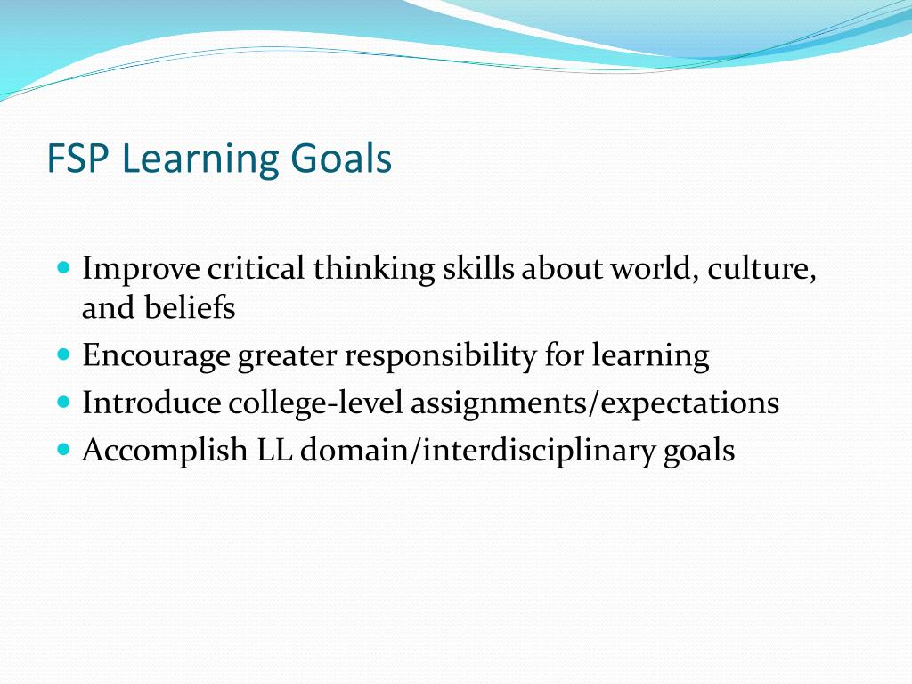 FSP Learning Goals
