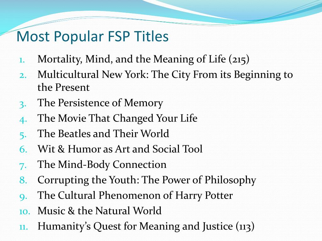 Most Popular FSP Titles