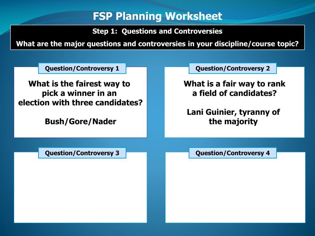 FSP Planning Worksheet