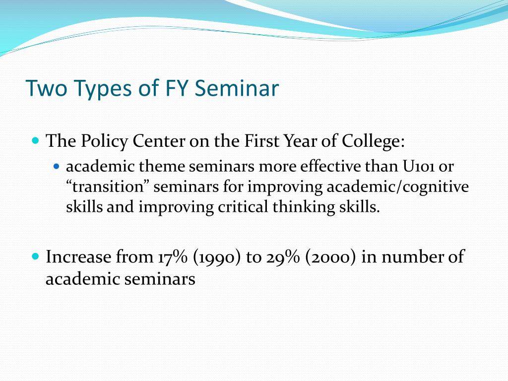 Two Types of FY Seminar