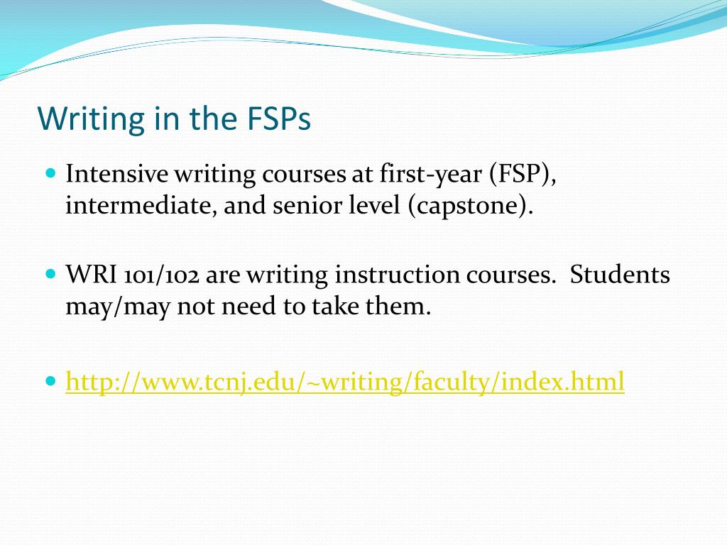 Writing in the FSPs
