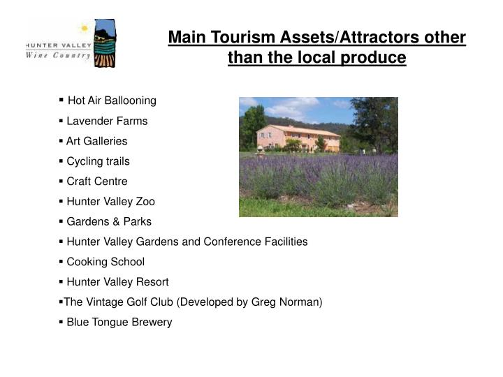 Main tourism assets attractors other than the local produce