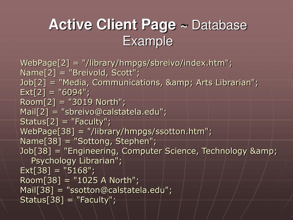 Active Client Page