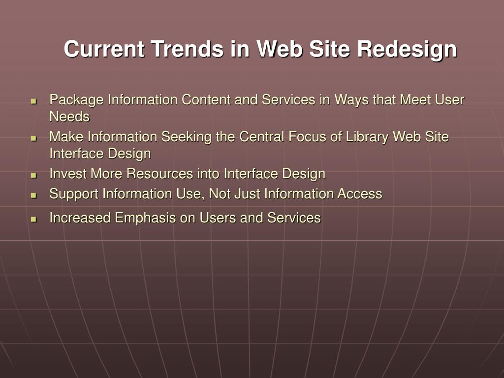 Current Trends in Web Site Redesign