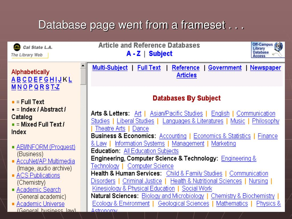 Database page went from a frameset . . .