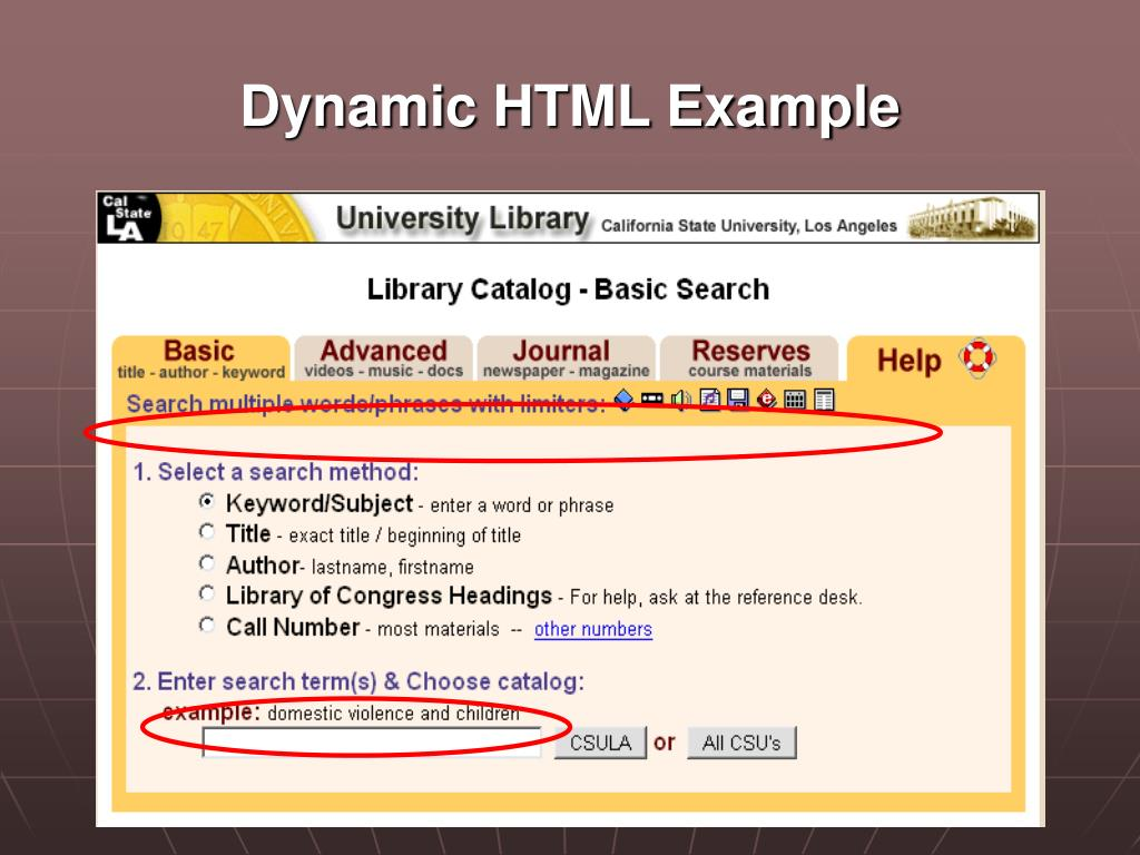 Dynamic HTML Example