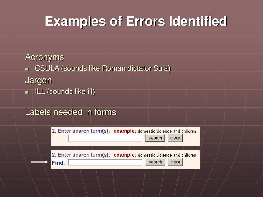 Examples of Errors Identified