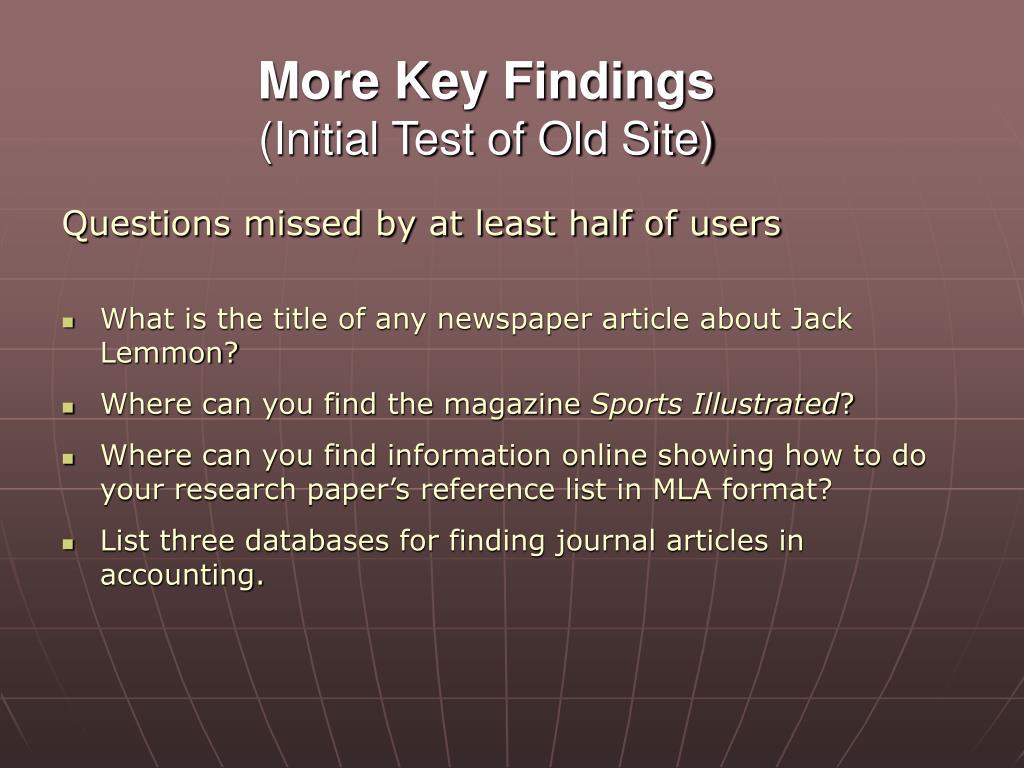 More Key Findings
