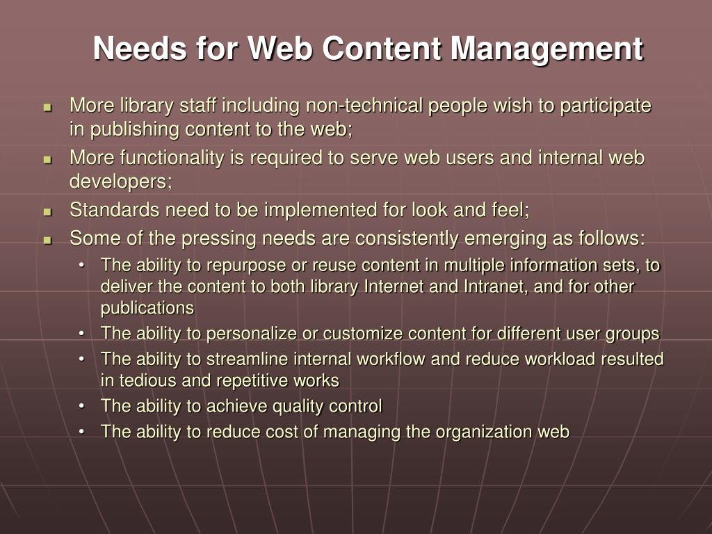 Needs for Web Content Management