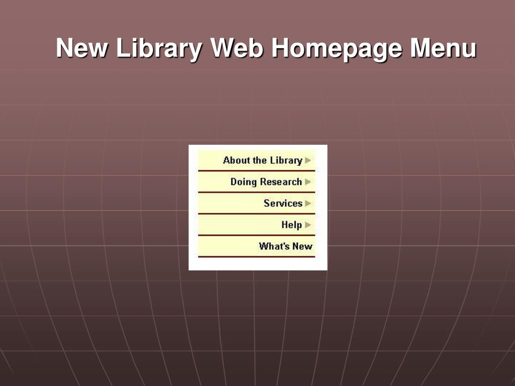New Library Web Homepage Menu