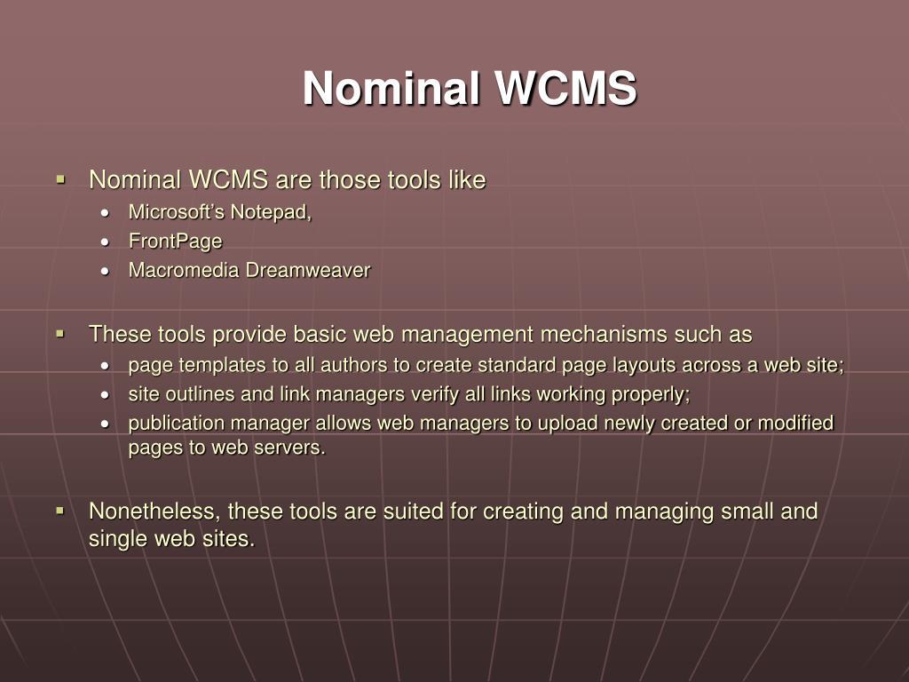 Nominal WCMS