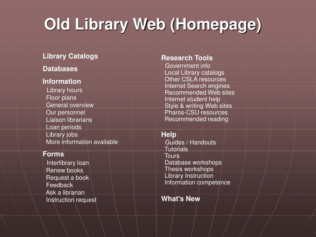 Old Library Web (Homepage)