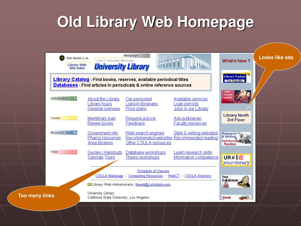 Old Library Web Homepage