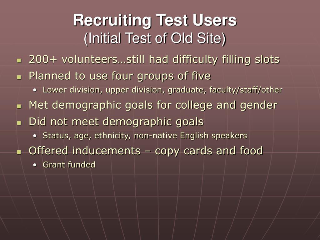 Recruiting Test Users