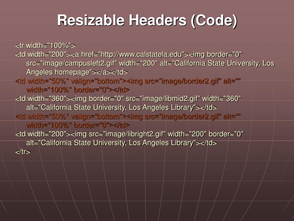 Resizable Headers (Code)