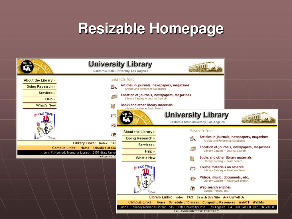 Resizable Homepage