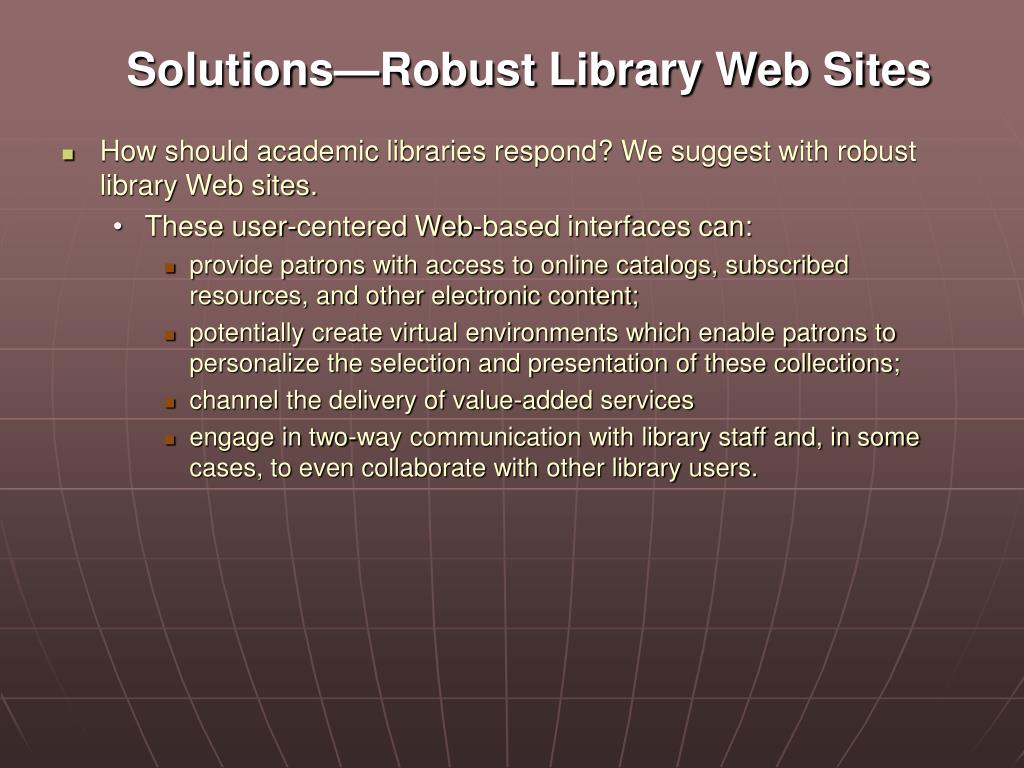Solutions—Robust Library Web Sites