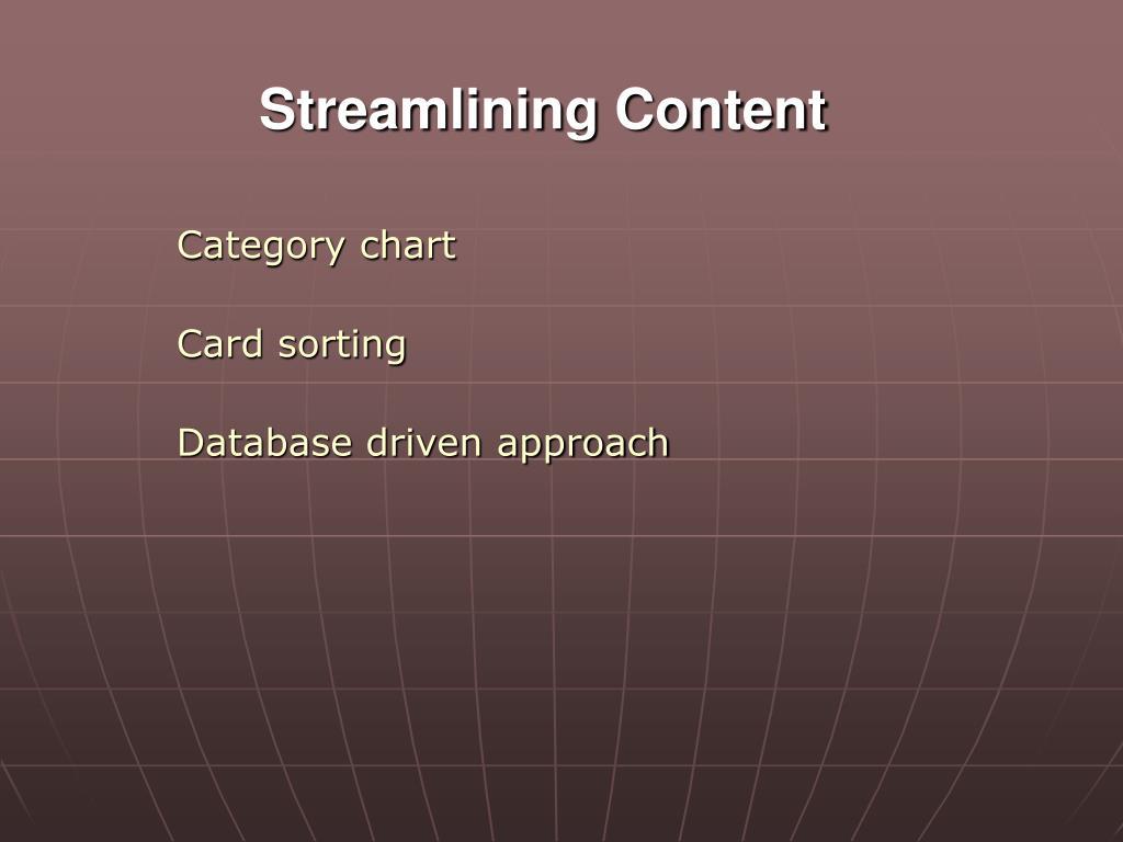 Streamlining Content