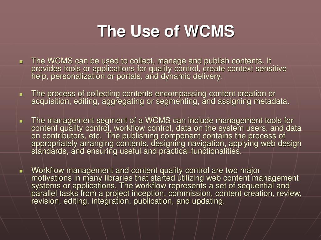 The Use of WCMS