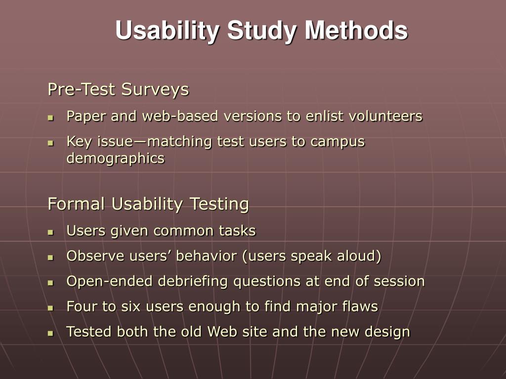 Usability Study Methods