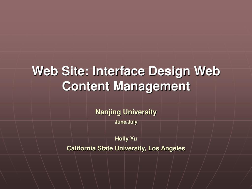 Web Site: Interface Design Web Content Management