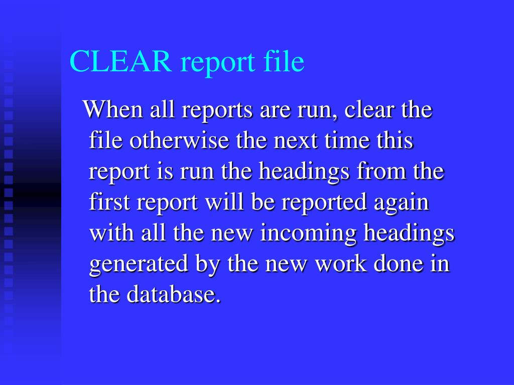 CLEAR report file