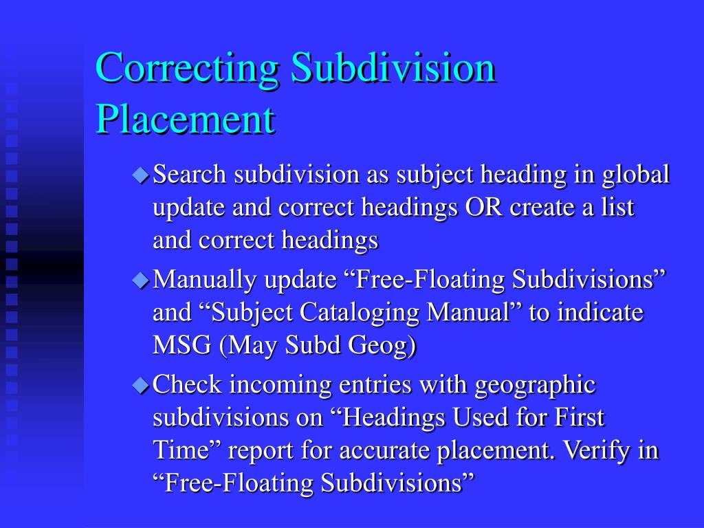 Correcting Subdivision Placement