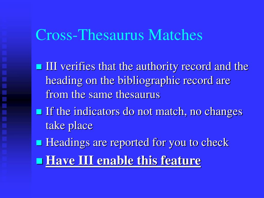 Cross-Thesaurus Matches