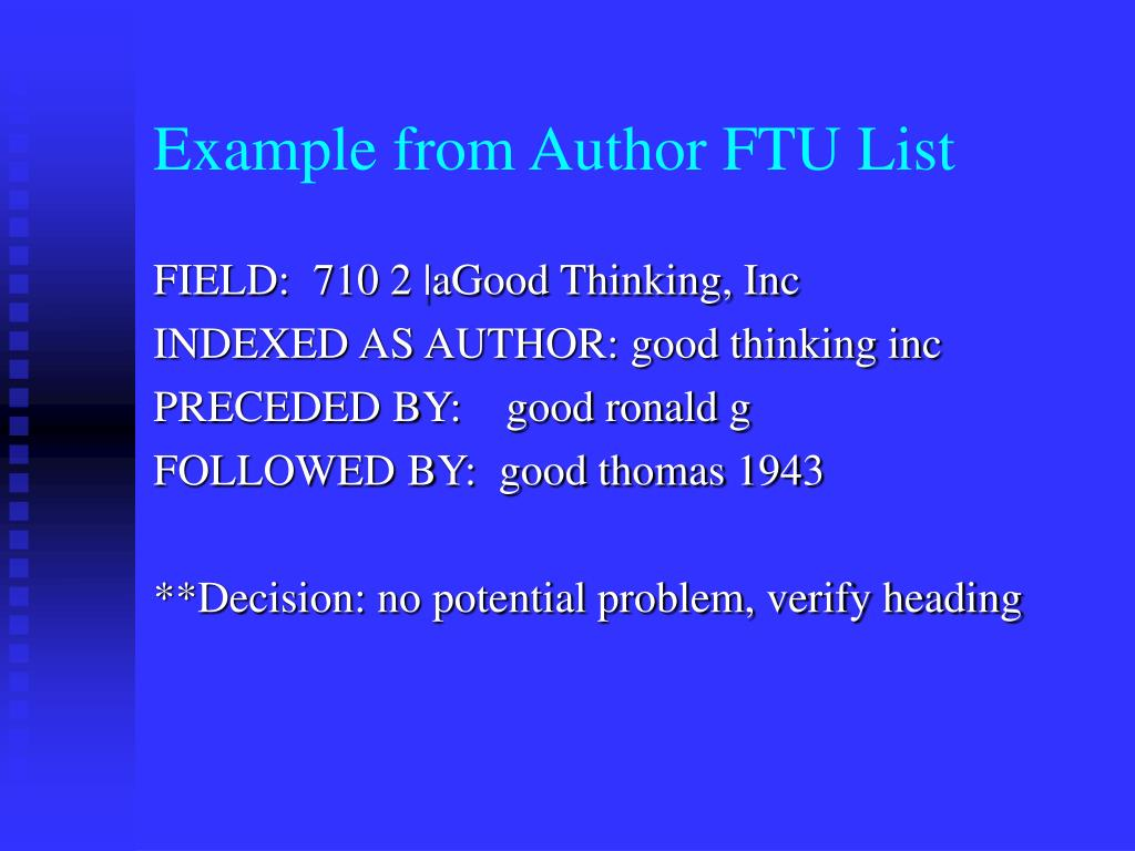 Example from Author FTU List