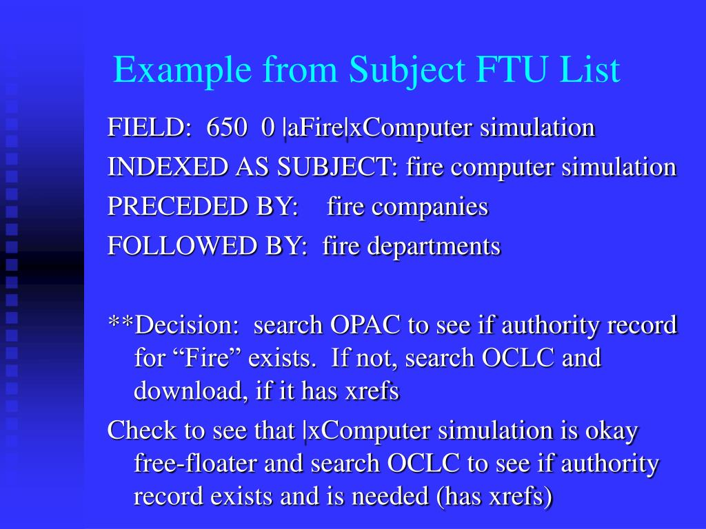 Example from Subject FTU List