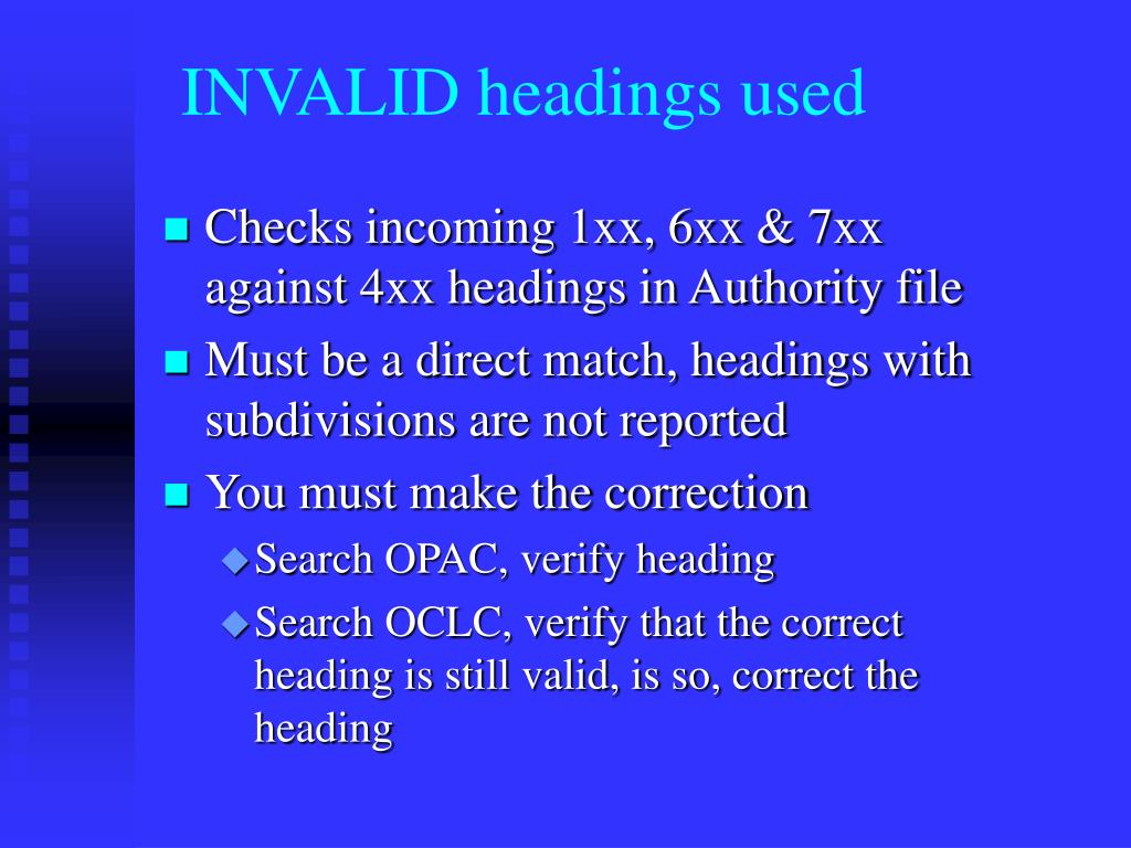 INVALID headings used