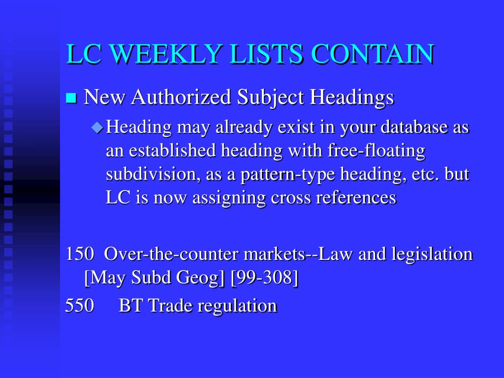 LC WEEKLY LISTS CONTAIN