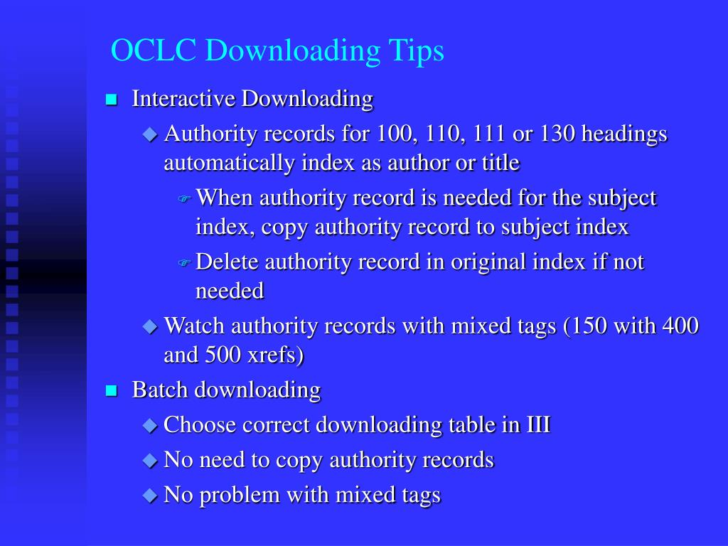 OCLC Downloading Tips