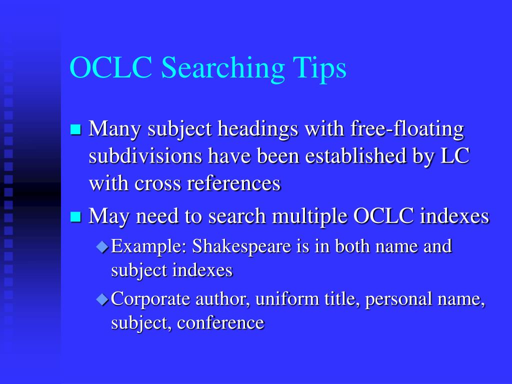 OCLC Searching Tips