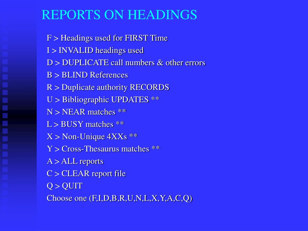 REPORTS ON HEADINGS