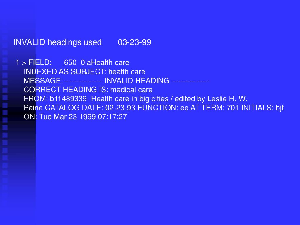 INVALID headings used       03-23-99
