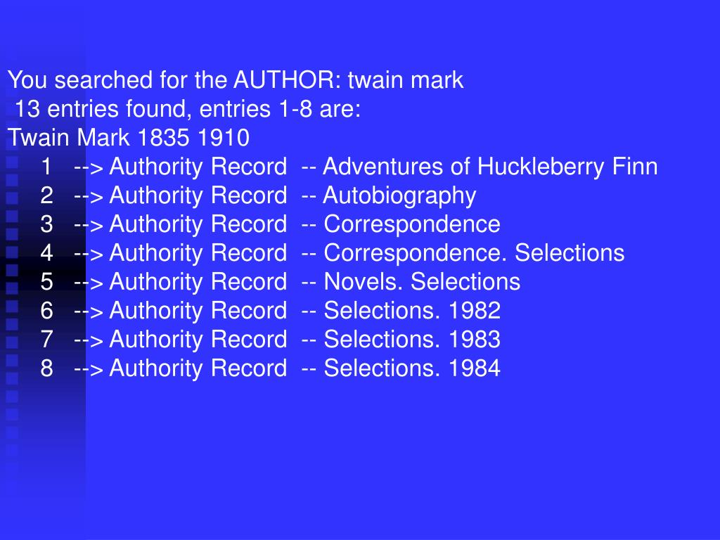 You searched for the AUTHOR: twain mark