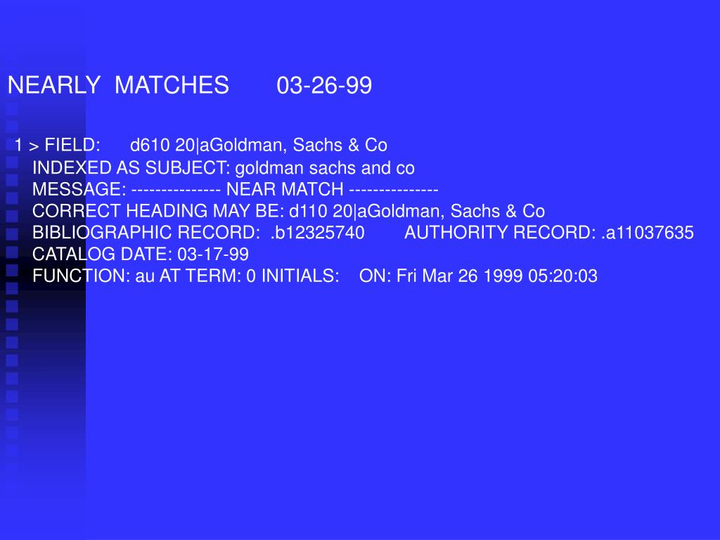 NEARLY  MATCHES       03-26-99