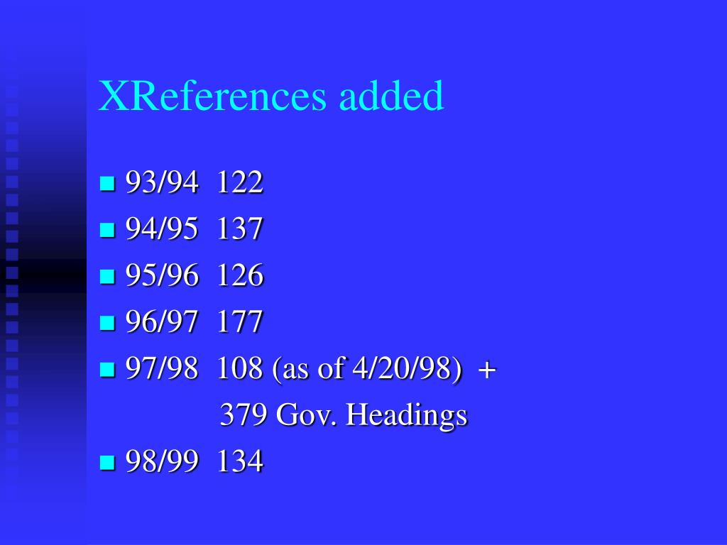 XReferences added