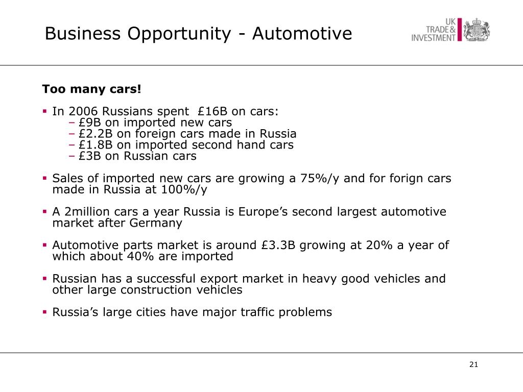 Business Opportunity - Automotive