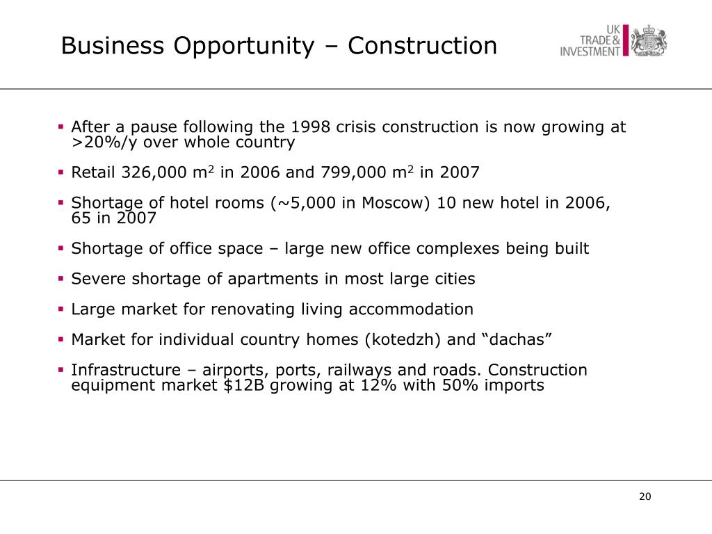 Business Opportunity – Construction